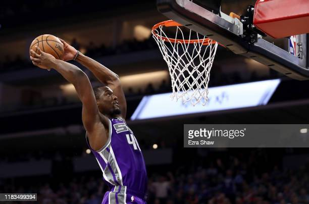 Harrison Barnes of the Sacramento Kings dunks the ball during their game against the Portland Trail Blazers at Golden 1 Center on October 25, 2019 in...