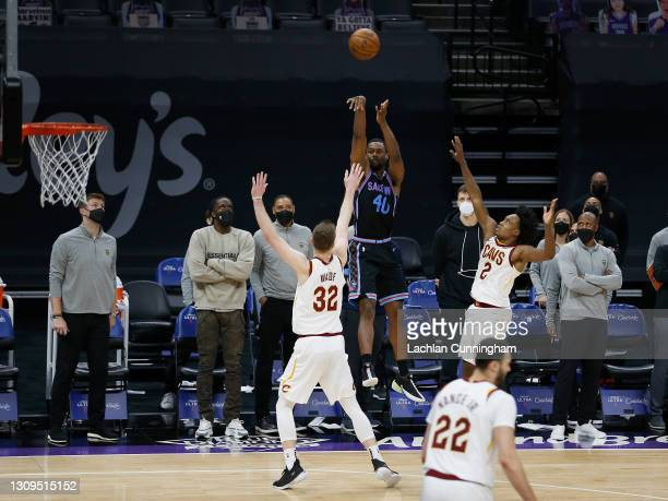 Harrison Barnes of the Sacramento Kings makes a game-winning three point shot to win the game against the Cleveland Cavaliers at Golden 1 Center on...