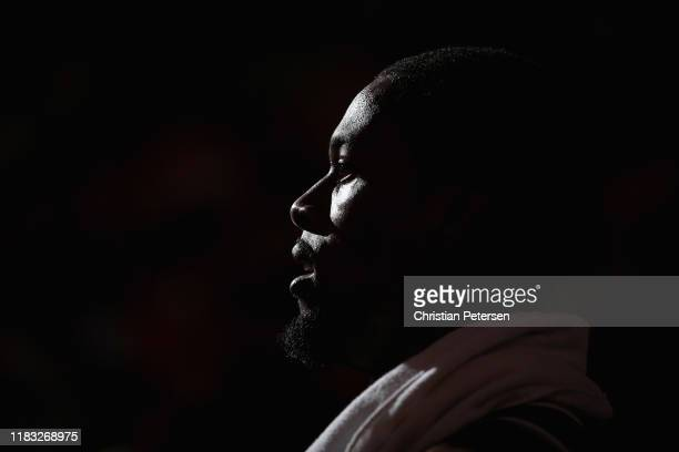 Harrison Barnes of the Sacramento Kings on the bench during the first half of the NBA game against the Phoenix Suns at Talking Stick Resort Arena on...