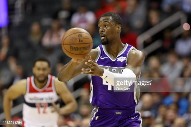 Harrison Barnes of the Sacramento Kings passes the ball against the Washington Wizards at Capital One Arena on March 11, 2019 in Washington, DC. NOTE...