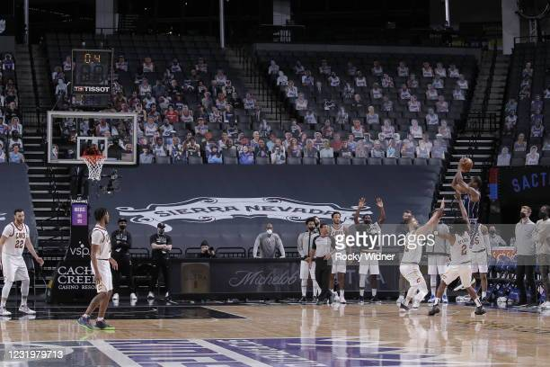 Harrison Barnes of the Sacramento Kings shoots a game winning 3-pointer against the Cleveland Cavaliers on March 27, 2021 at Golden 1 Center in...