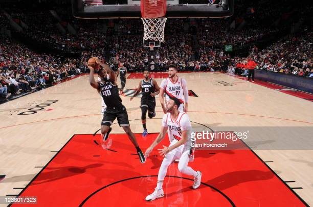 Harrison Barnes of the Sacramento Kings shoots the ball during the game against the Portland Trail Blazers on October 20, 2021 at the Moda Center...
