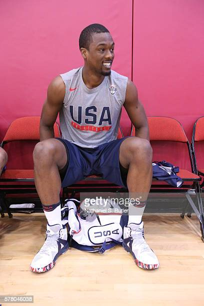 Harrison Barnes of the USA Basketball Men's National Team prepares for practice on July 18 2016 at Mendenhall Center on the University of Nevada Las...