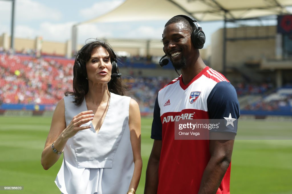 Harrison Barnes talks to the media prior to the Major Soccer League match between Dallas FC and LA Galaxy at Toyota Stadium on May 12, 2018 in Frisco, Texas.