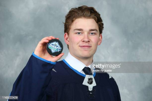 Harrison Blaisdell 134th overall pick of the Winnipeg Jets poses for a portrait during Rounds 27 of the 2019 NHL Draft at Rogers Arena on June 22...