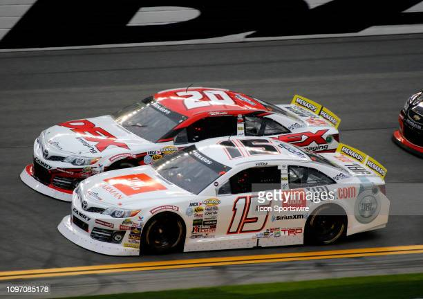 Harrison Burton DEX Imaging Toyota Christian Eckes JBL Audio Toyota during the running of the Lucas Oil 200 on February 9 2019 at Daytona...