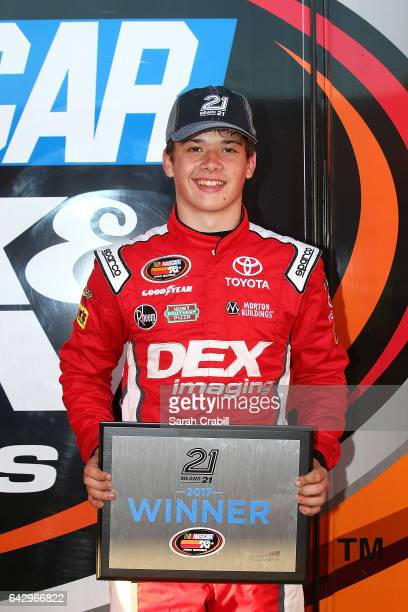 Harrison Burton driver of the DEX Imaging Toyota celebrates after winning the pole award for the NASCAR KN Pro Series East Jet Tools 150 at New...