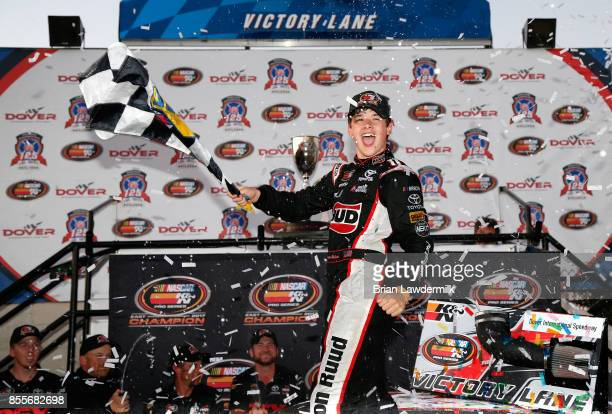 Harrison Burton driver of the DEX Imaging Toyota celebrates in Victory Lane after winning the NASCAR KN Pro Series East Championship and the NASCAR...