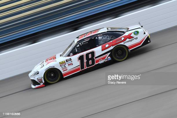 Harrison Burton driver of the Dex Imaging Toyota drives during the NASCAR Xfinity Series CircuitCitycom 250 at Iowa Speedway on June 15 2019 in...