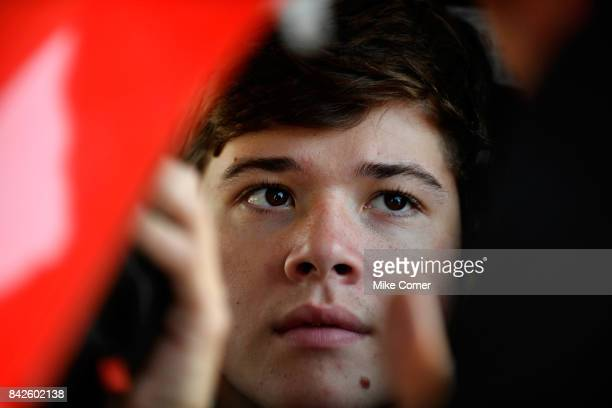 Harrison Burton driver of the DEX Imaging Toyota talks to his crew before practice at Langley Speedway on September 4 2017 in Hampton Virginia