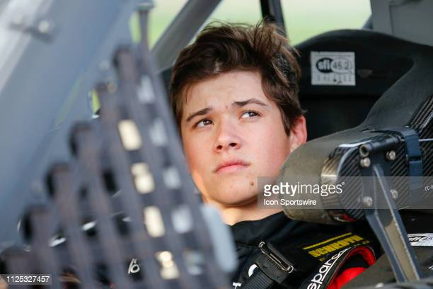 Harrison Burton driver of the Kyle Busch Motorsports Safelite AutoGlass Toyota during qualifying for the NextEra Energy 250 on February 15 2019 at...