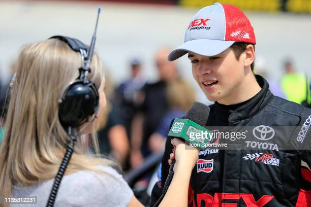 Harrison Burton Joe Gibbs Racing Toyota Supra Dex Imaging in an interview prior to the Alsco 300 NASCAR Xfinity Series race on April 6 2019 at the...