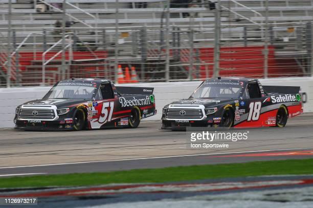 Harrison Burton Kyle Busch Motorsports Toyota Tundra Safelite AutoGlass battles Kyle Busch Kyle Busch Motorsports Toyota Tundra Cessna during the...