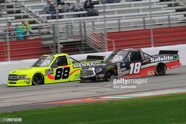 Harrison Burton Kyle Busch Motorsports Toyota Tundra Safelite AutoGlass battles Matt Crafton ThorSport Racing Ford F150 during the 11th running of...