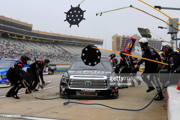 Harrison Burton Kyle Busch Motorsports Toyota Tundra Safelite AutoGlass pits during the 11th running of the Ultimate Tailgating 200 NASCAR Gander...