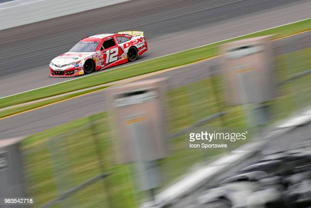Harrison Burton MDM Motorsports Toyota Camry works his way through turn three during the practice session for the ARCA Racing Series PapaNicholas...