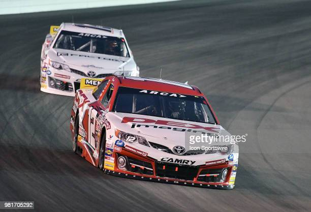 Harrison Burton of Huntersville NC driving a Toyota for Des Imaging during the ARCA Racing Series PapaNicholas Coffee 150 on June 22 at Gateway...