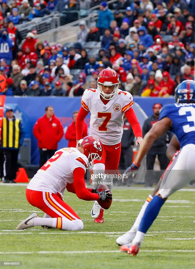 Harrison Butker #7 of the Kansas City Chiefs in action against the New York Giants on November 19, 2017 at MetLife Stadium in East Rutherford, New Jersey. The Giants defeated the Chiefs 12-9 in overtime.