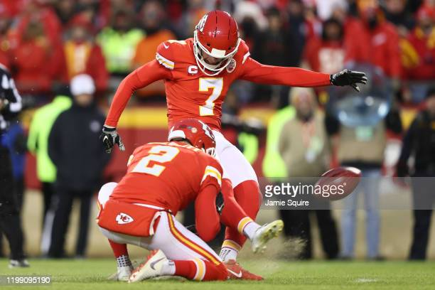 Harrison Butker of the Kansas City Chiefs kicks a field goal against the Houston Texans during the fourth quarter in the AFC Divisional playoff game...