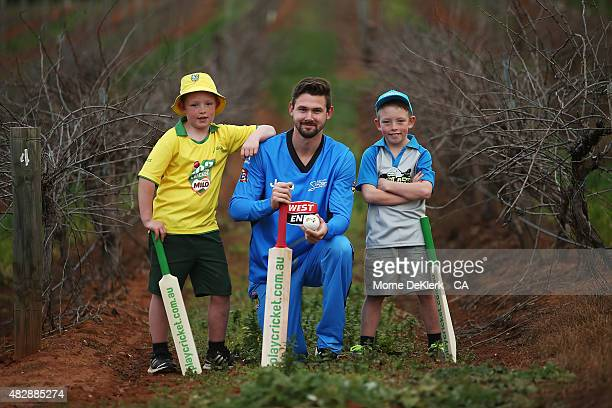 Harrison Davies , Kane Richardson of the Strikers and Archie Davies during a Cricket Australia via Getty Images promotion for 'PlayCricket Week' at...