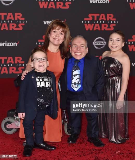 Harrison Davis Samantha Davis actor Warwick Davis and Annabelle Davis attend the Los Angeles premiere of 'Star Wars The Last Jedi' at The Shrine...