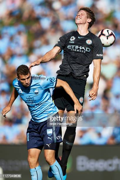 Harrison Delbridge of Melbourne City contests a high ball during the round 17 ALeague match between Sydney FC and Melbourne City at WIN Jubilee...
