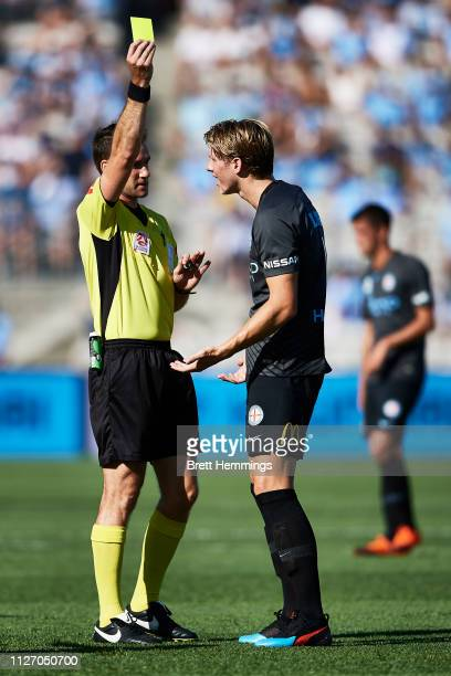 Harrison Delbridge of Melbourne City receives a yellow card during the round 17 ALeague match between Sydney FC and Melbourne City at WIN Jubilee...