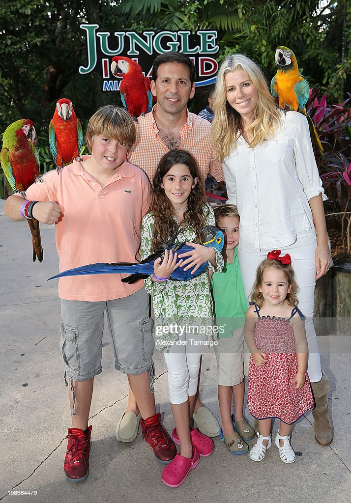 Harrison Drescher, Reid Drescher, Veronica Drescher, Hudson Drescher, Aviva Drescher and Sienna Drescher are seen during the Jungle Island VIP Safari Tour at Jungle Island on January 4, 2013 in Miami, Florida.