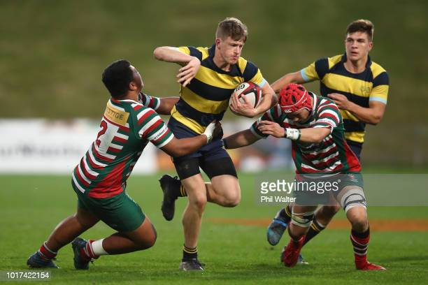 Harrison Eakin of Takapuna Grammar is tackled during the North Harbour First XV Final between Westlake Boys andTakapuna Grammar at QBE Stadium on...