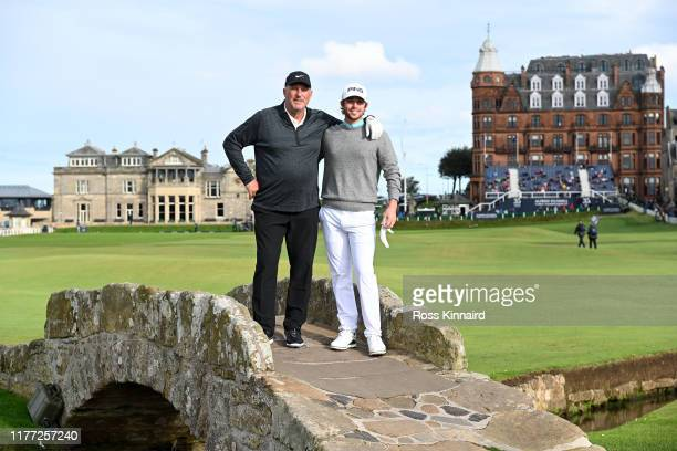 Harrison Endycott of Australia and Sir Ian Botham pose for a photo on the Swilken bridge during Day one of the Alfred Dunhill Links Championship at...