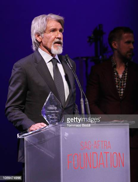 Harrison Ford accepts the Artists Inspiration Award onstage at the SAGAFTRA Foundation's 3rd Annual Patron of the Artists Awards at the Wallis...