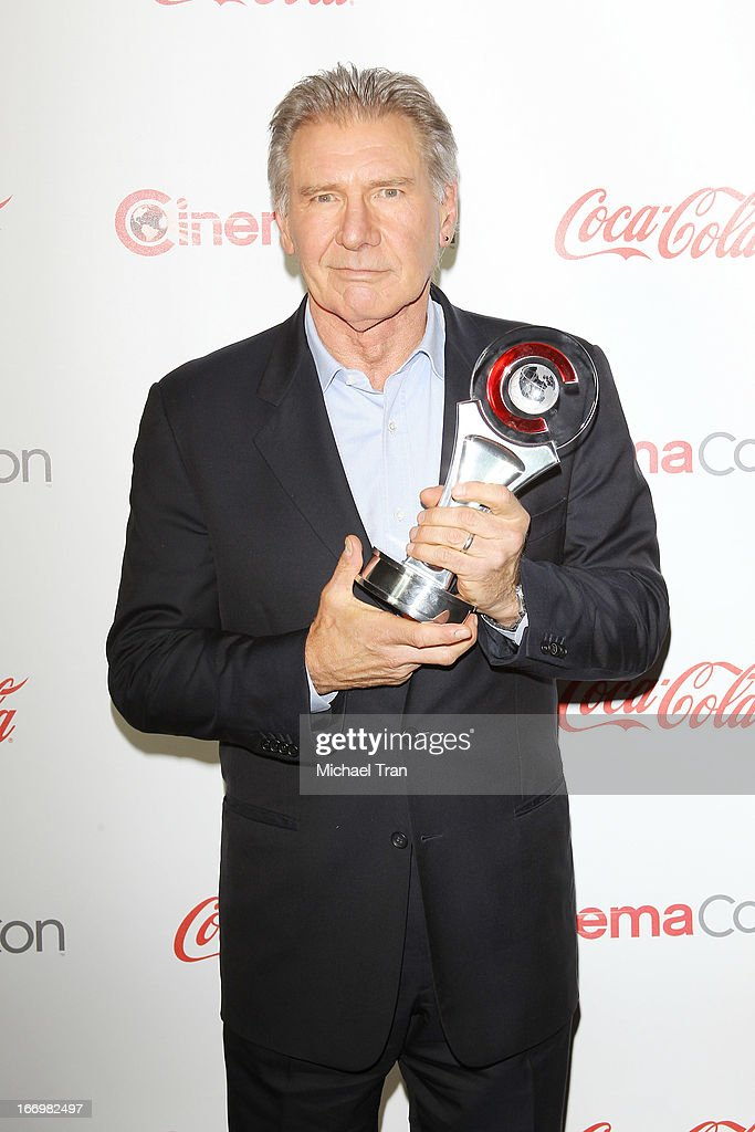 Harrison Ford accepts the award for 'Lifetime Achievement' at the CinemaCon 2013 Big Screen Achievement Awards held at Caesars Palace during CinemaCon, the official convention of the National Association of Theatre Owners on April 18, 2013 in Las Vegas, Nevada.
