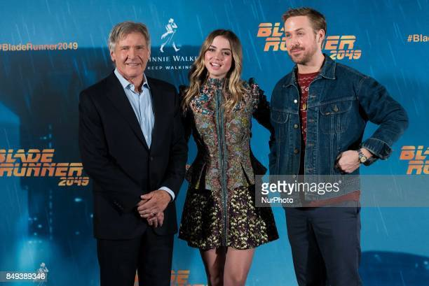 Harrison Ford Ana de Armas and Ryan Gosling atend the 'Blade Runner 2049' movie photocall at 'Villamagna Hotel' in Madrid on September 19 2017
