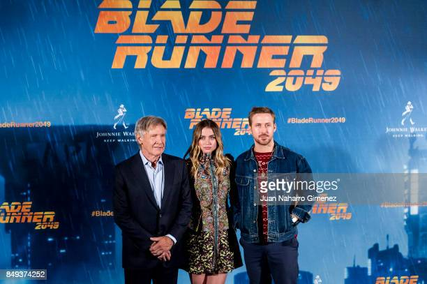 Harrison Ford Ana de Armas and Ryan Gosling attend 'Blade Runner 2049' photocall at Villa Magna Hotel on September 19 2017 in Madrid Spain