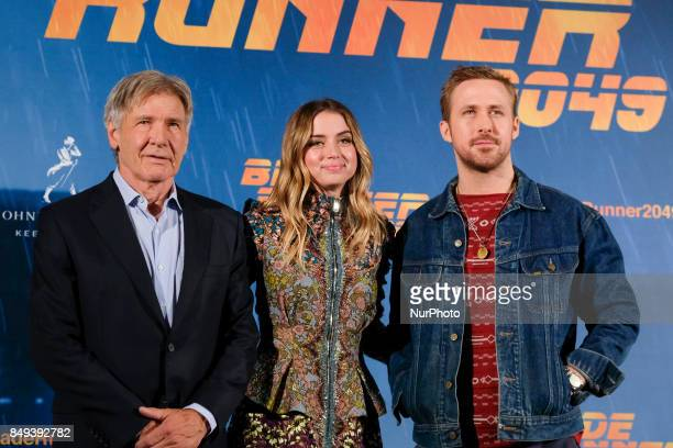 Harrison Ford Ana de Armas and Ryan Gosling poses during the photocall of the film 'Blade Runner 2049' in Madrid on September 19 2017