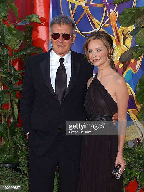 Harrison Ford and Calista Flockhart during 58th Annual Primetime Emmy Awards Arrivals at Shrine Auditorium in Los Angeles California United States