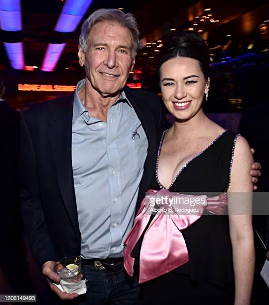 """Harrison Ford and Cara Gee attend the World Premiere of 20th Century Studios' """"The Call of the Wild"""" at the El Capitan Theatre on February 13, 2020..."""
