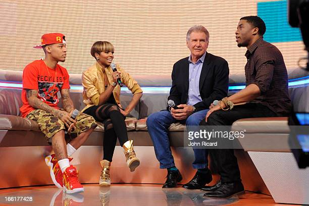 Harrison Ford and Chad Boseman visit BET's 106 Park at BET Studios on April 8 2013 in New York City