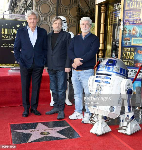 Harrison Ford and George Lucas attend as Mark Hamill is honored with a star on the Hollywood Walk of Fame on March 8 2018 in Hollywood California