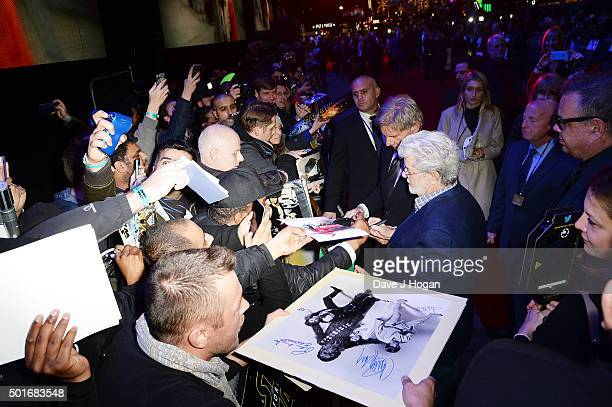 Harrison Ford and George Lucas attend the European Premiere of Star Wars The Force Awakens at Leicester Square on December 16 2015 in London England