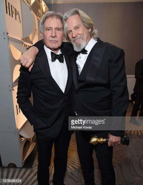 Harrison Ford and Jeff Bridges attend Moet Chandon at The 76th Annual Golden Globe Awards at The Beverly Hilton Hotel on January 6 2019 in Beverly...