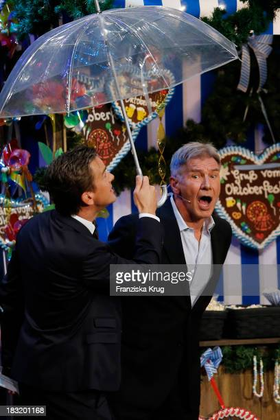 Harrison Ford and Markus Lanz attend 'Wetten dass' from Bremen at MesseBremen on October 05 2013 in Bremen Germany