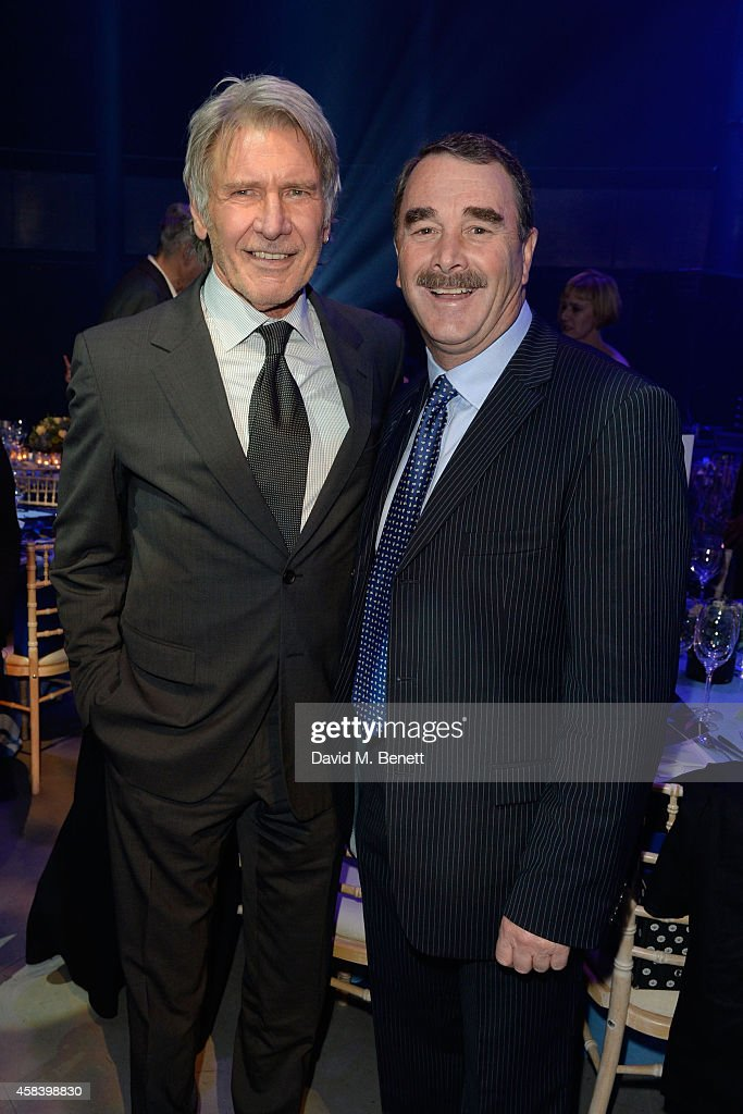 Harrison Ford and Nigel Mansell attend the second annual SeriousFun Network Gala at at The Roundhouse on November 4, 2014 in London, England.