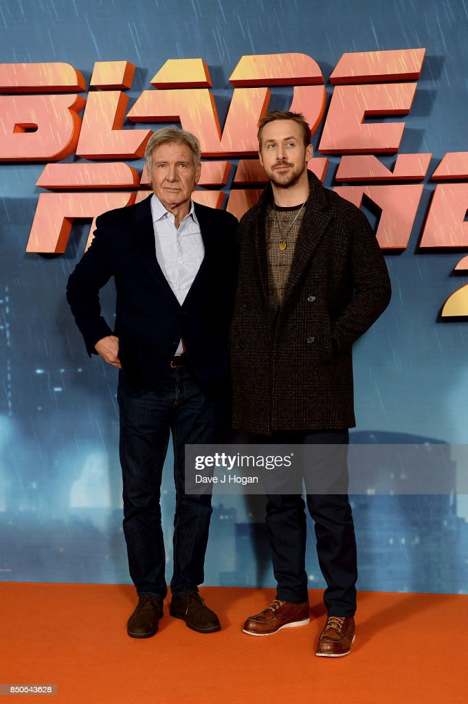 Harrison Ford (L) and Ryan Gosling attend the 'Blade Runner 2049' photocall at The Corinthia Hotel on September 21, 2017 in London, England.