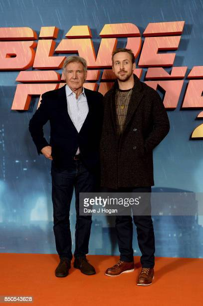 Harrison Ford and Ryan Gosling attend the 'Blade Runner 2049' photocall at The Corinthia Hotel on September 21, 2017 in London, England.