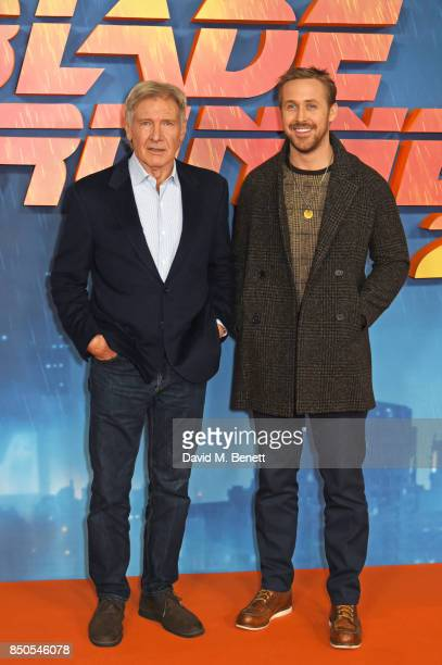 """Harrison Ford and Ryan Gosling attend the """"Blade Runner 2049"""" photocall at The Corinthia Hotel on September 21, 2017 in London, England."""