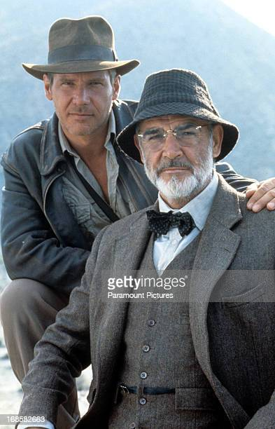 Harrison Ford and Sean Connery on set of the film 'Indiana Jones And The Last Crusade', 1989.