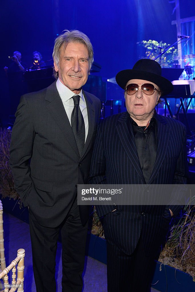 Harrison Ford and Van Morrison attend the second annual SeriousFun Network Gala at at The Roundhouse on November 4, 2014 in London, England.