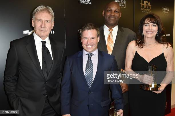 Harrison Ford Andrew A Kosove Broderick Johnson and Cynthia Sikes Yorkin attends the 21st Annual Hollywood Film Awards Backstage on November 5 2017...