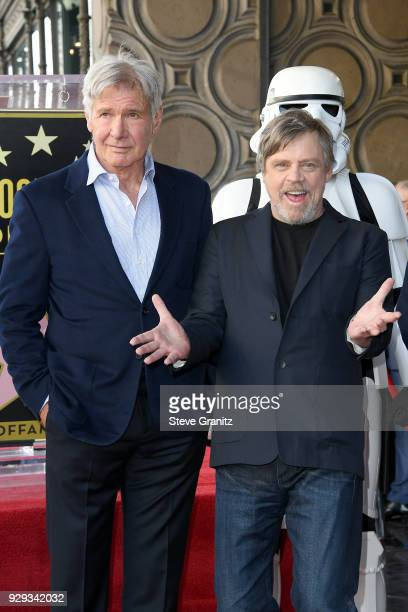 Harrison Ford attends as Mark Hamill is honored with a star on the Hollywood Walk of Fame on March 8 2018 in Hollywood California
